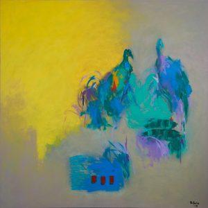 Huda-al-Saie_Birds-in-Paradise-Bahrain_120x120cm_Acrylic-on-Canvas